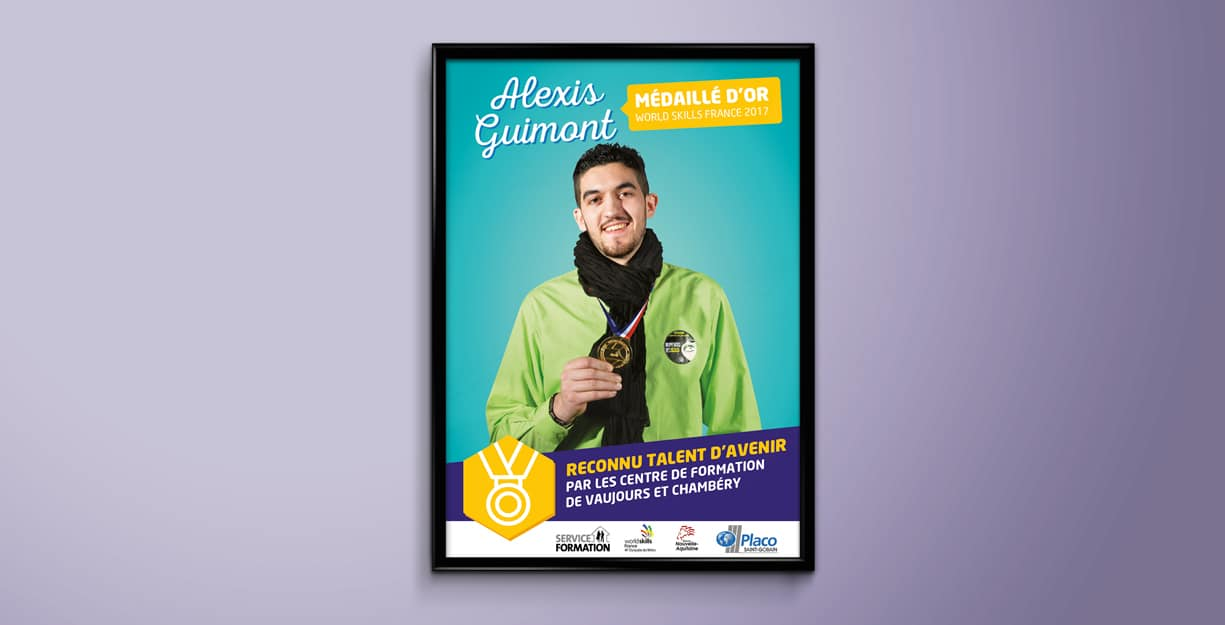 Design de l'affiche de la campagne de communication interne pour Talent d'avenir de Saint Gobain