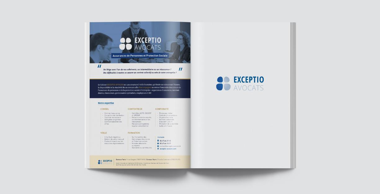 Edition d'une Annonce presse, publicité pour la cabinet Exception Avocats, Tours et Paris