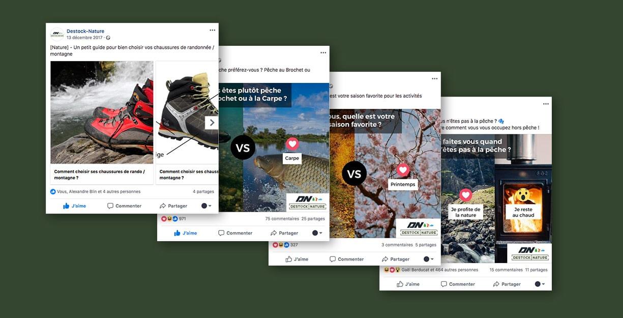 Présentation de différents posts sponsorisés sur les réseaux sociaux pour le Community Management
