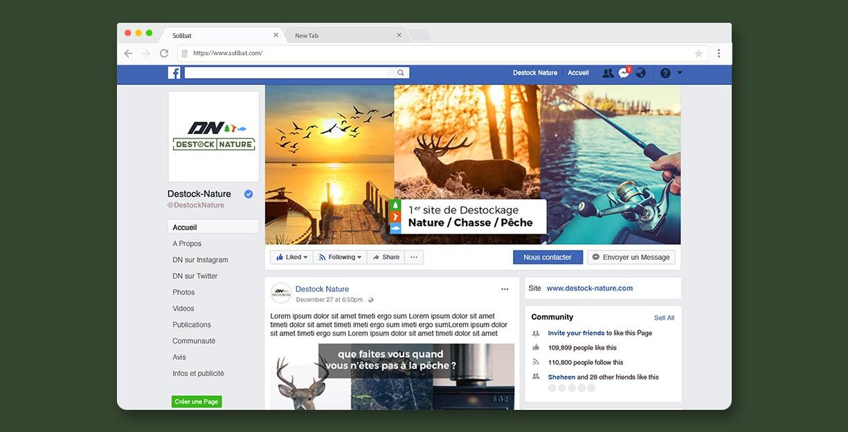Application de l'identité du site de vente privée sur la couverture de la page Facebook