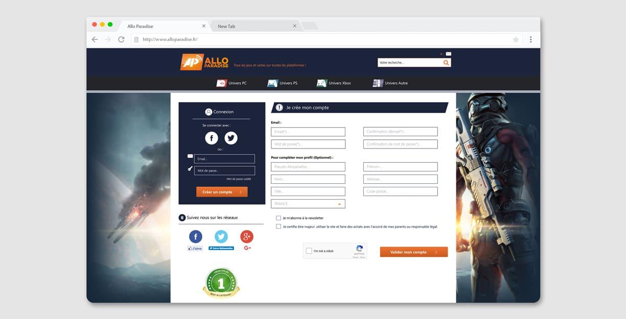 Maquette de la page connexion du site Allo Paradise