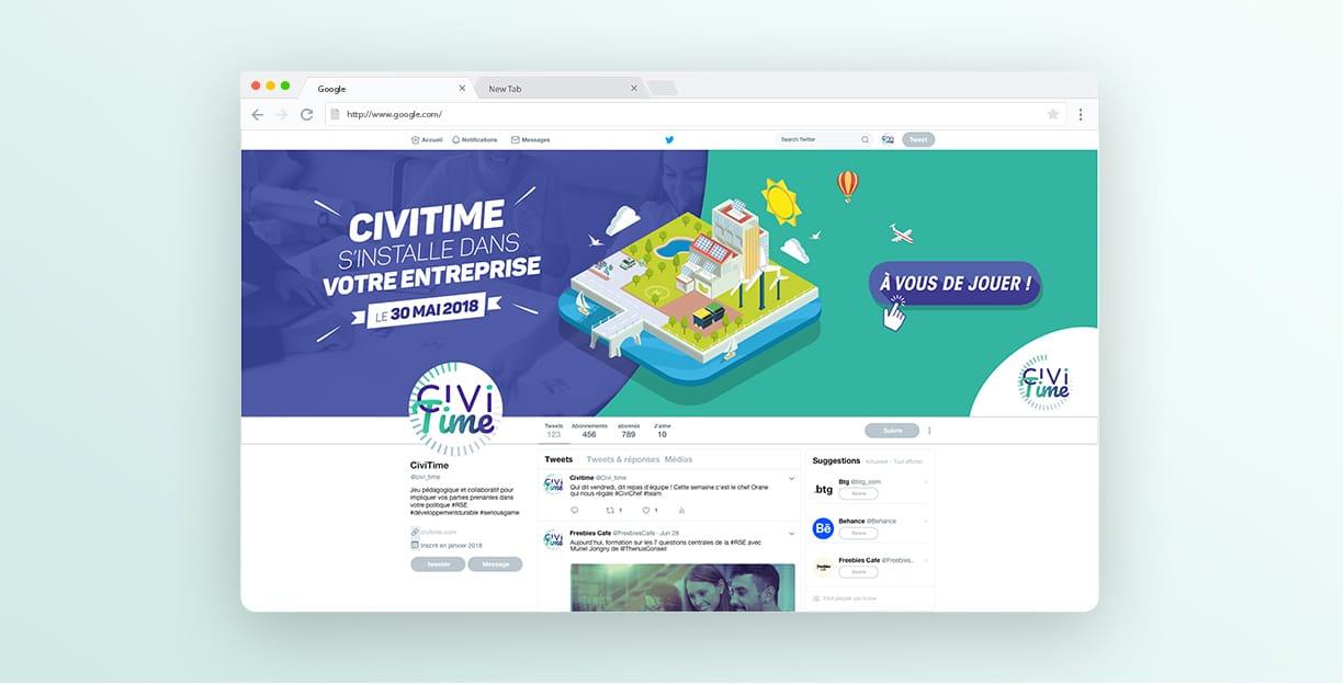 Design de l'identité Civitime pour les réseaux Sociaux