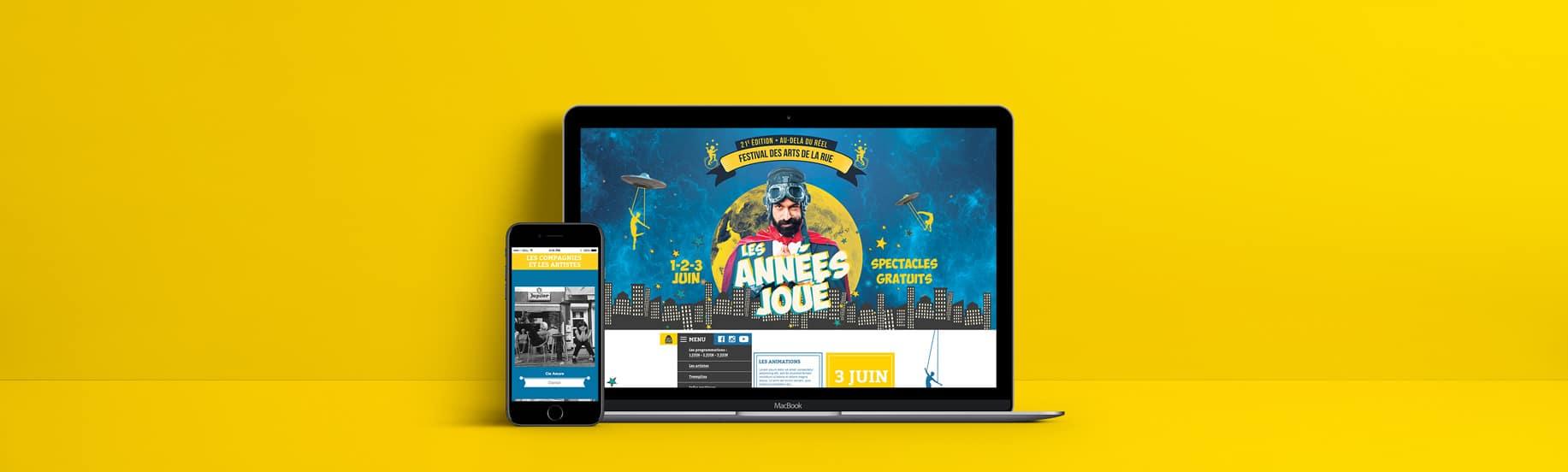 Page d'accueil web et mobile du site des Années Joué