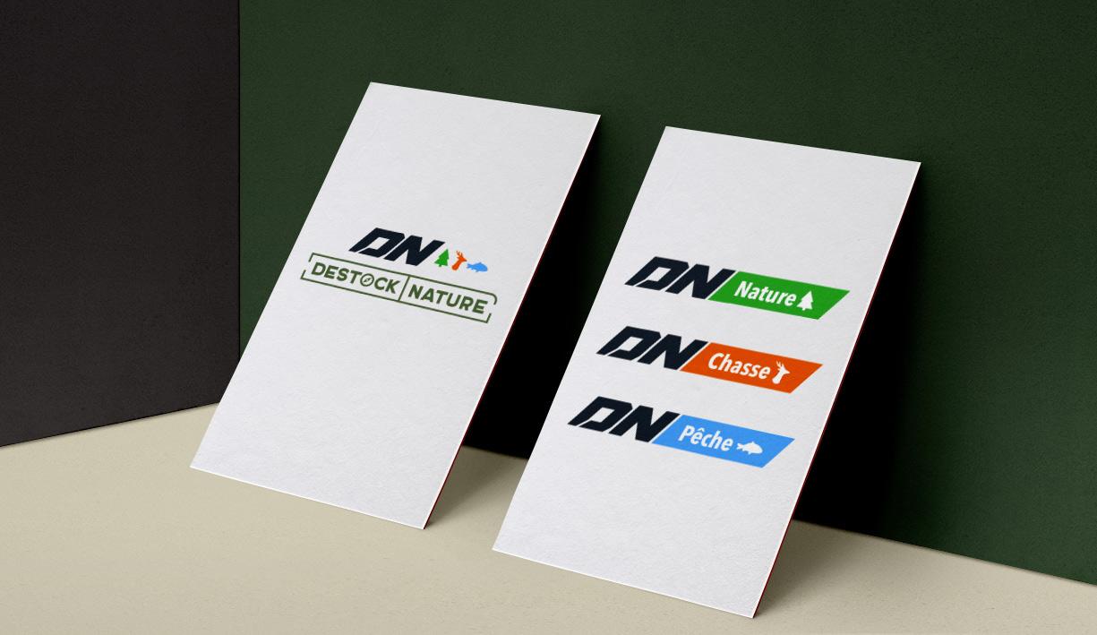 Identité visuelle de Desotck nature et déclinaison du logo sur les 3 univers de la société