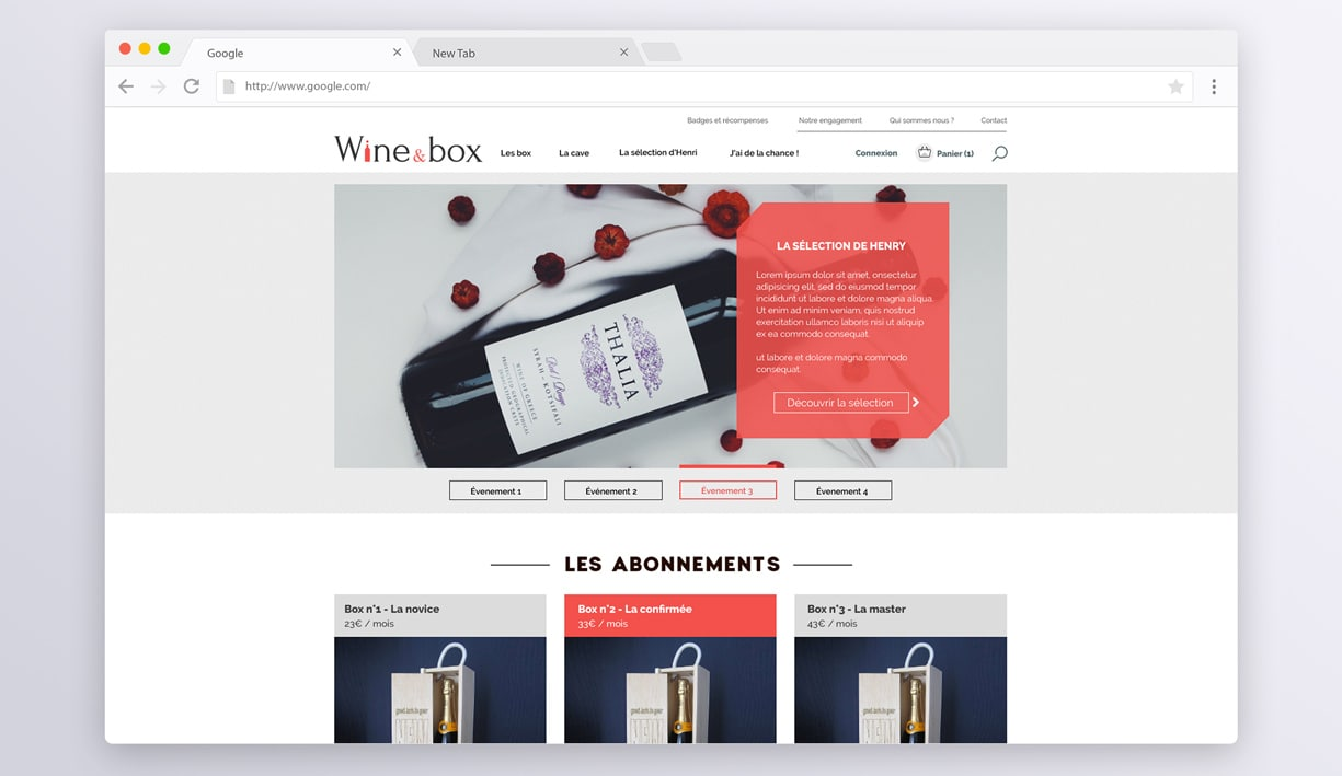 page accueil du site web Wine and box