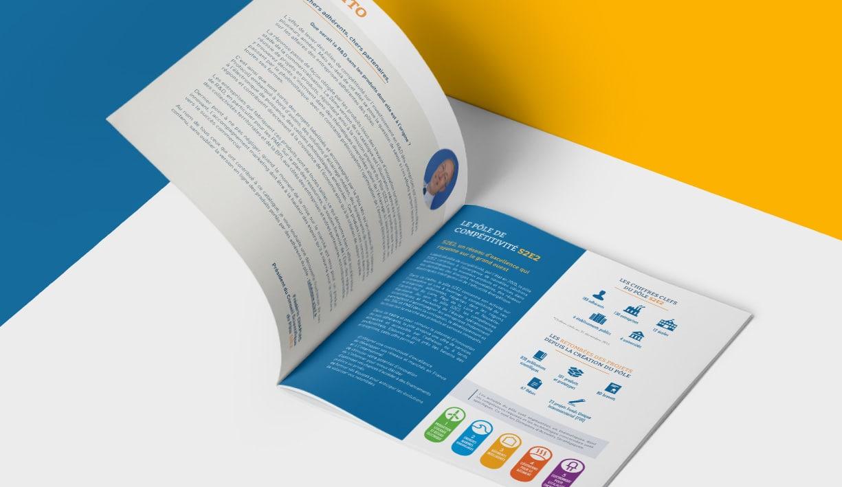 Edition d'une double page de la brochure, dépliant de la société S2E2, Tours
