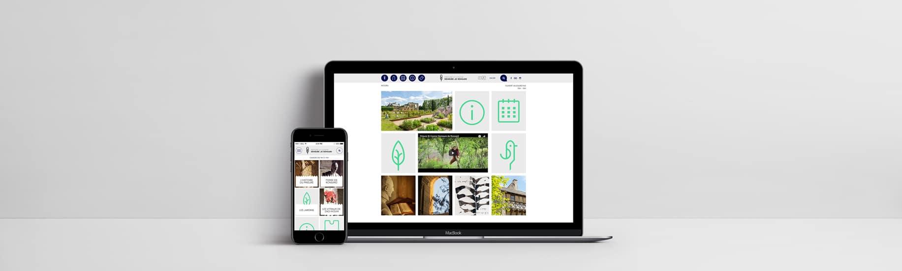 Formats responsive et ordinateur du site web Prieuré Ronsard
