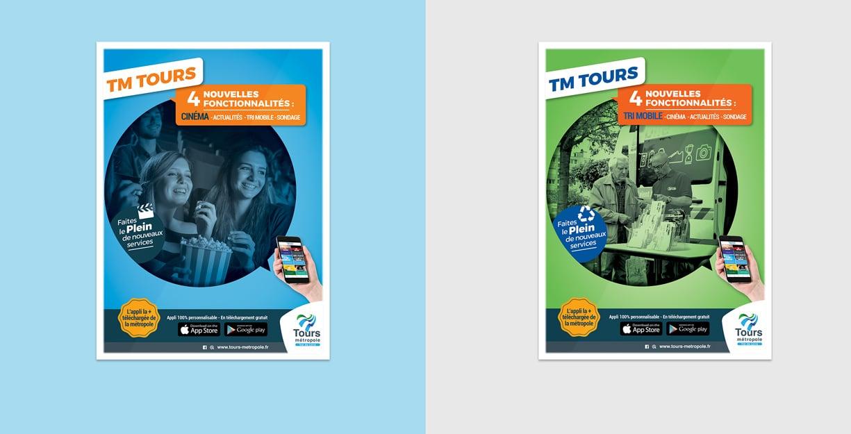 Affiches de publicité, déclinées pour le cinéma et le tri sélectif