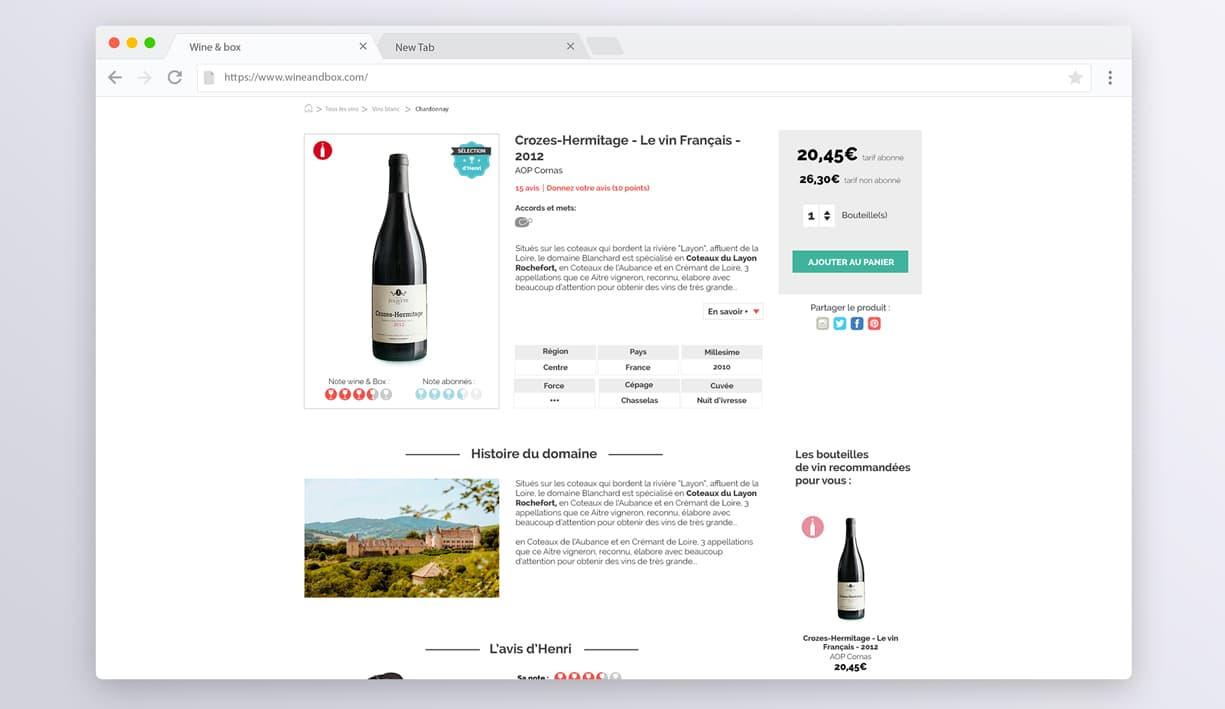 page produits du site web wine and box