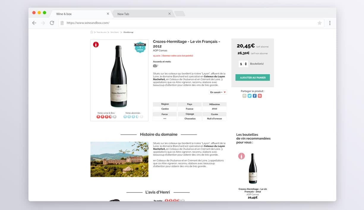 page produits du site web wine and box