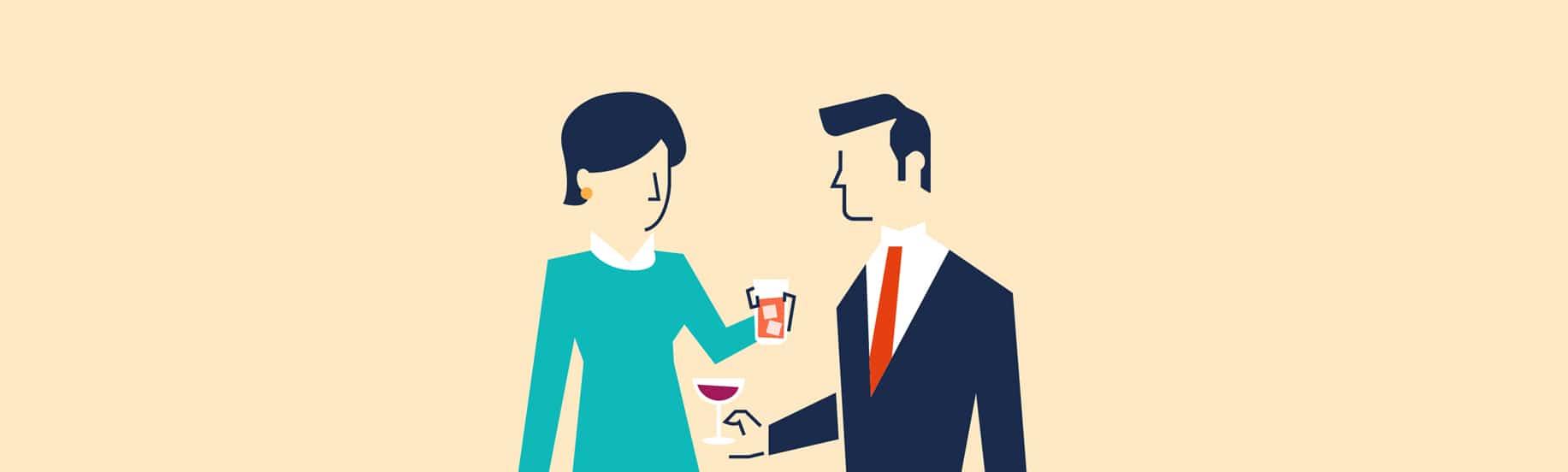 Illustration de deux personnes a un cocktail