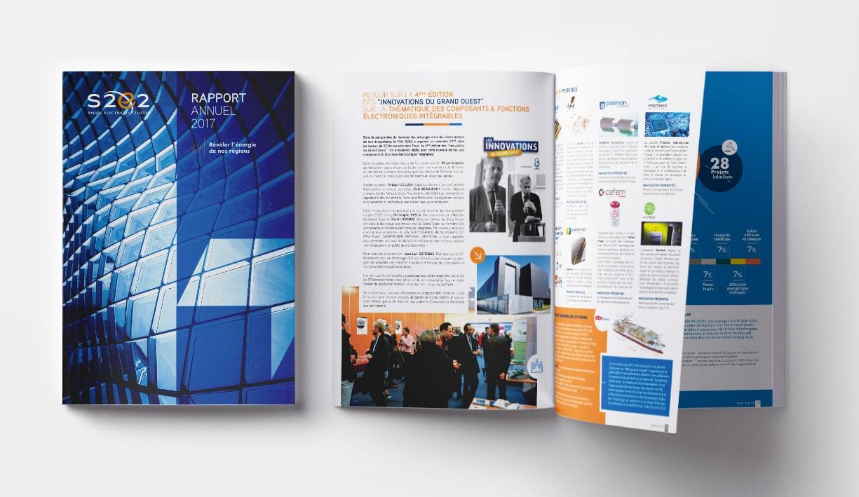 Mise en page du rapport d'activité de S2E2, Tours. Edition de la couverture et d'une double page intérieure