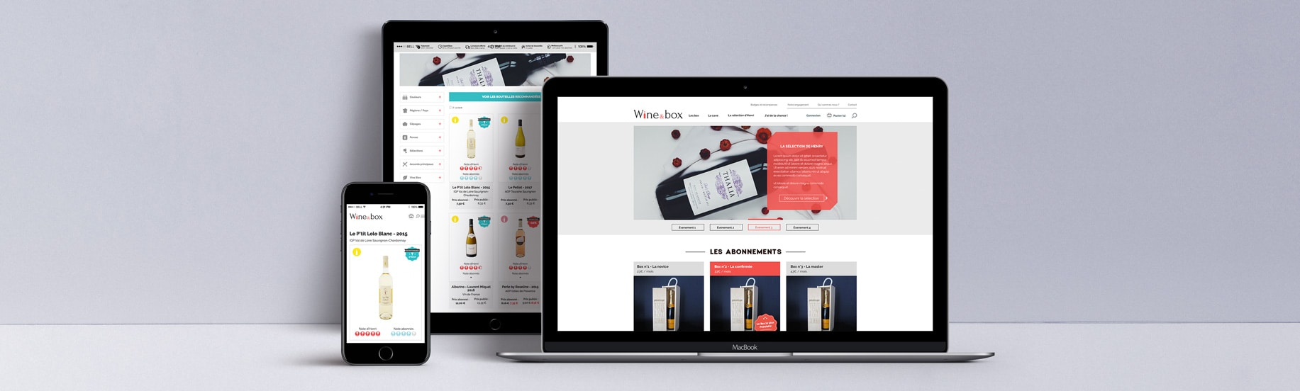 Version mobile et ordinateur du site Wine & Box