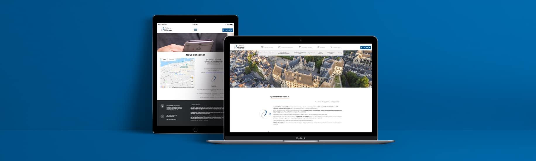 Pages responsive du site ordinateur et tablette