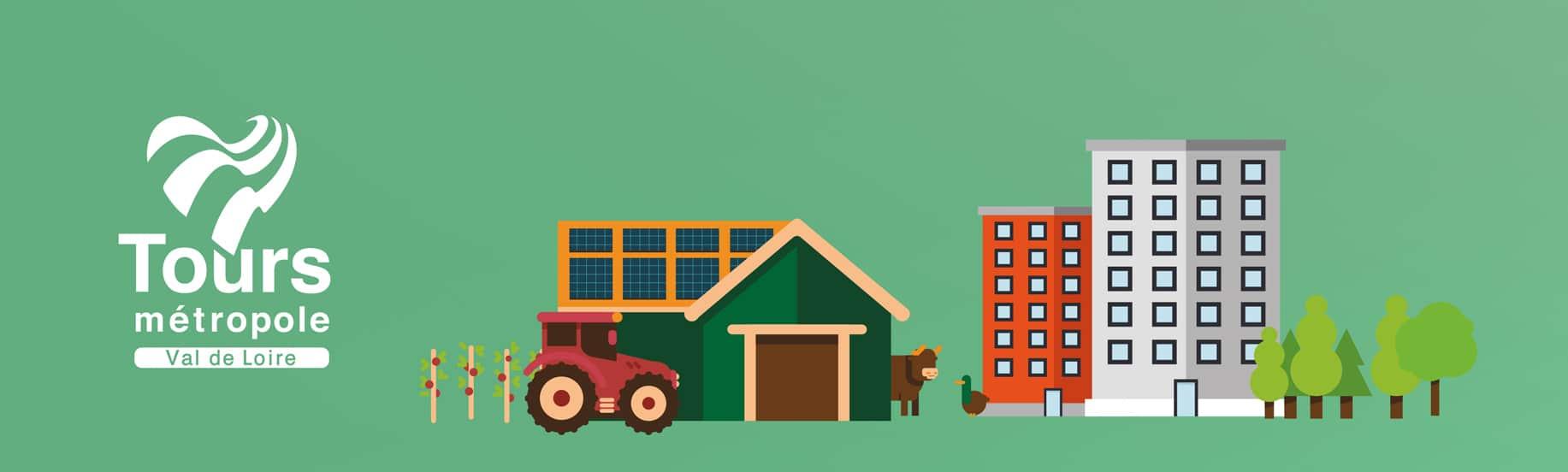 Illustration de vaches et immeubles pour motion design