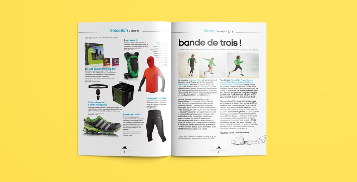 Page produit magazine adidas