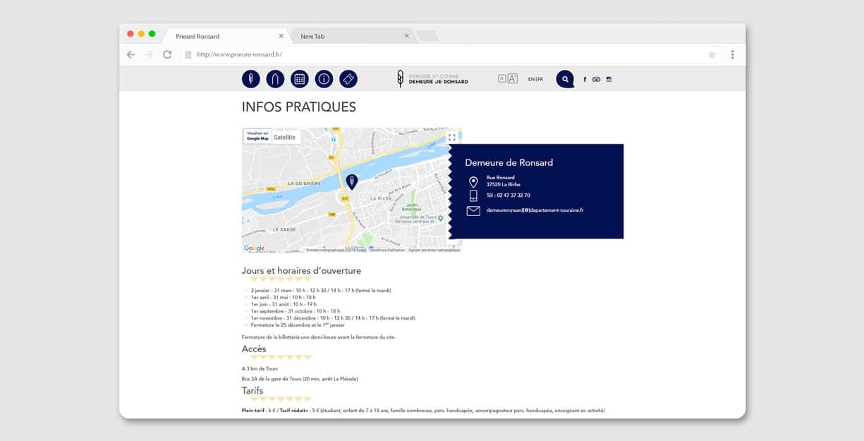 Page infos pratiques du site
