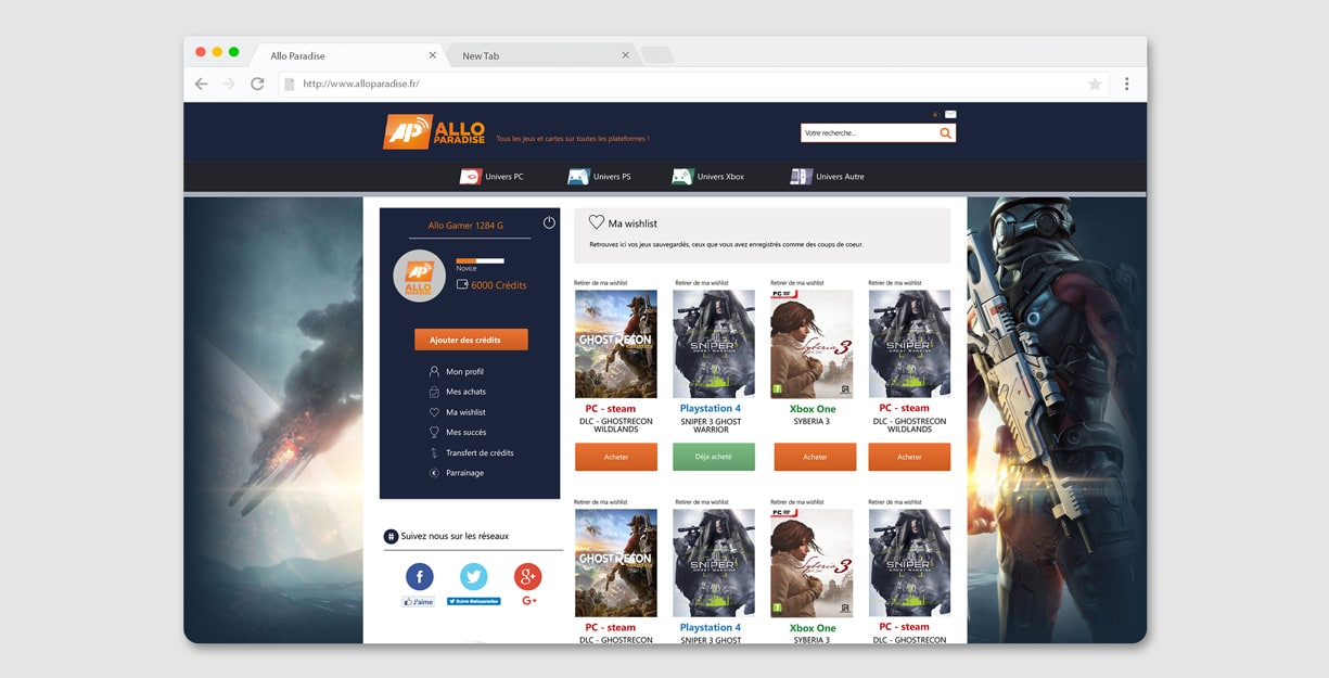 Page whishlist du site Allo Paradise